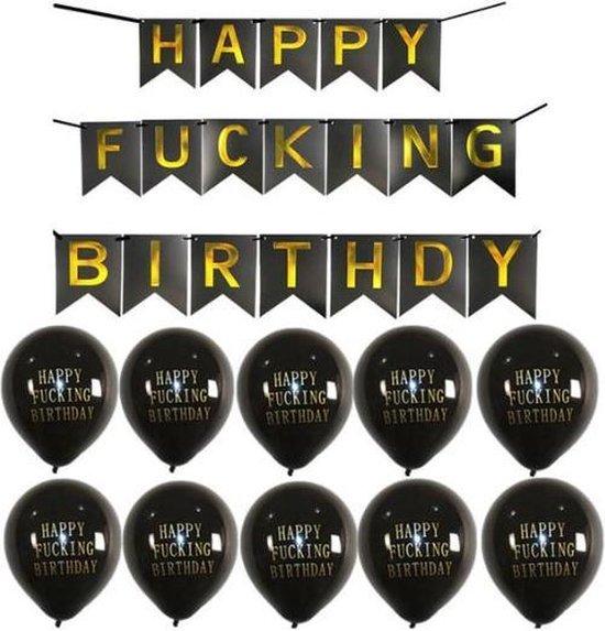 Happy Birthday Ballonnen met slinger | Abusive Balloons | Offensive Balloons | Scheld ballonnen | Rumag ballonnen (lookalike)