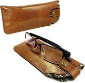 Alston Craig - Vintage lederen hoes voor brillen en zonnebrillen - Bruin