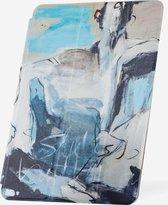 Apple iPad Hoes - Smart Cover - Voor de iPad 9.7 (2017 / 2018) - Kunst 'Abstract Artistiek Lichtblauw en Grijs' Wit - Uniek design