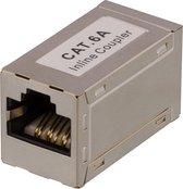 DELTACO 685-F, RJ45 Adapter CAT6a, FTP (gescreend), zilver