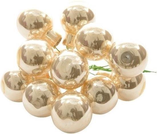 10x Mini glazen kerstballen kerststekers/instekertjes parel 2 cm - Parel kerststukjes kerstversieringen glas