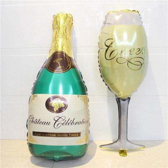 Party Feest Ballon - XL Champagnefles & Wijn - Vrijgezellenfeest - Huwelijk - Geslaagd - Trouwen - Verjaardag - Jubileum