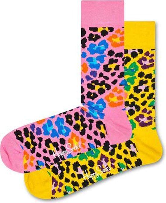 2x Happy Socks Multi Leopard Set | Geel + Roze |Dames| Maat 36-40