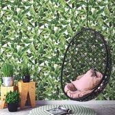 RoomMates – Palm Leaf Peel and Stick Wallpaper Stickerbehang – 52,07 cm x 502,9 cm – Groen en Wit
