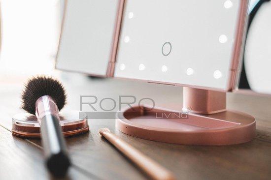 RoRo Living® champagne goud stijlvolle make-up spiegel met LED verlichting, 2x en 3x vergroting, inclusief batterijen en usb kabel - RoRo LIving