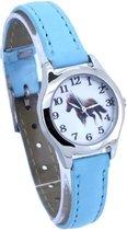 Pony / paarden horloge - licht blauw - 20 mm - I-deLuxe verpakking