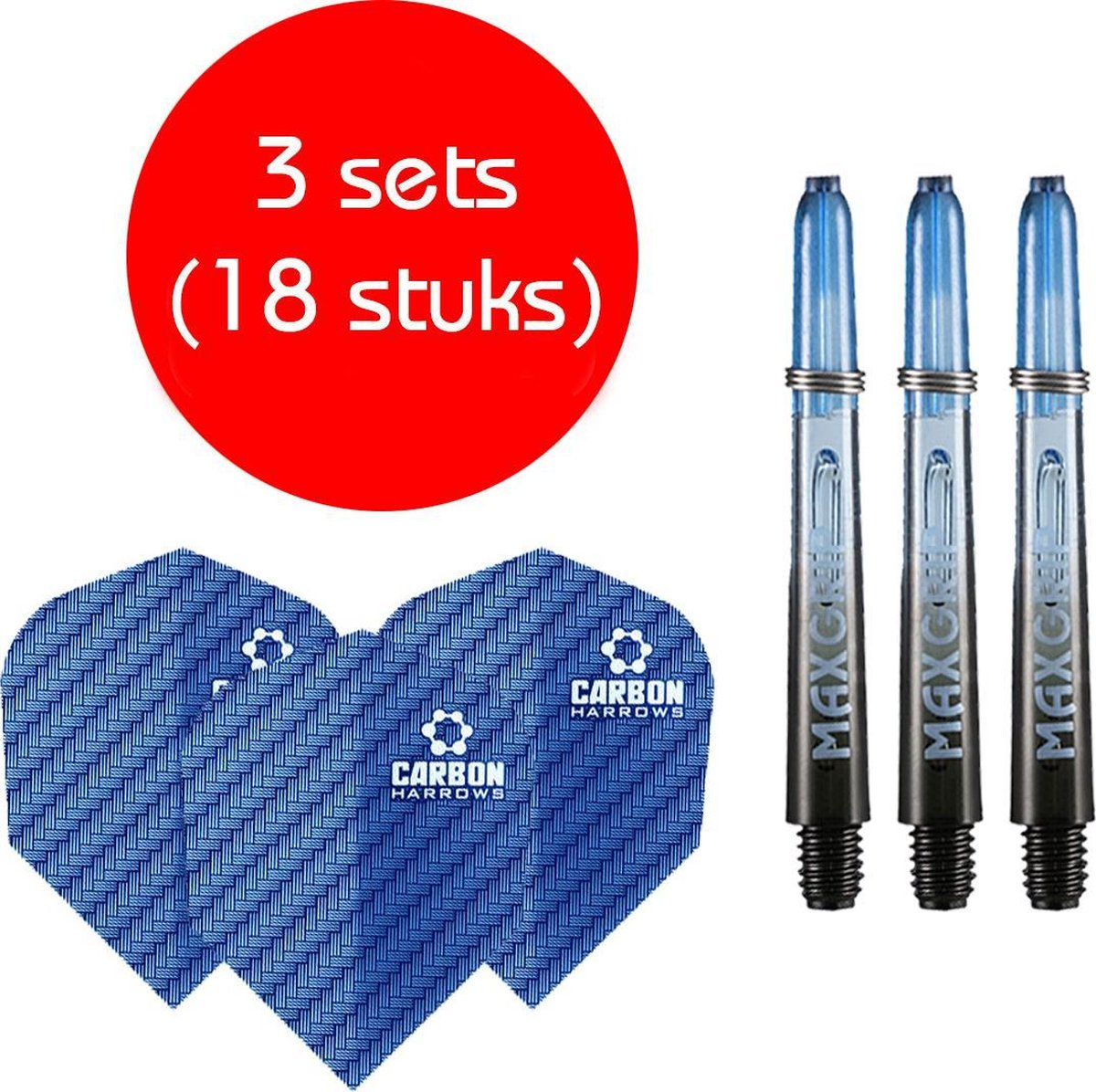 Dragon darts - Maxgrip - 3 sets - darts shafts - zwart-blauw - inbetween - en 3 sets - Carbon blauw - darts flights