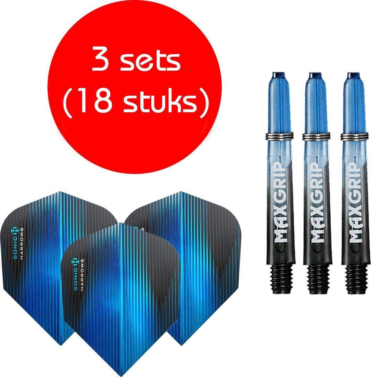 Dragon darts - Maxgrip - 3 sets - darts shafts - zwart-blauw - short - en 3 sets - Sonic blauw - darts flights