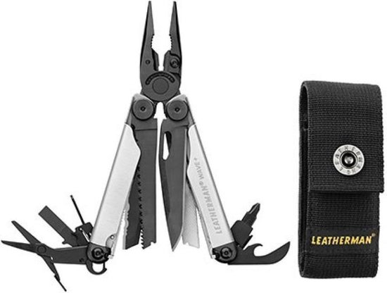Leatherman multitool Wave Plus Black & Silver 18-delig met schede -Zilver