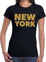 New York gouden glitter tekst t-shirt zwart dames M