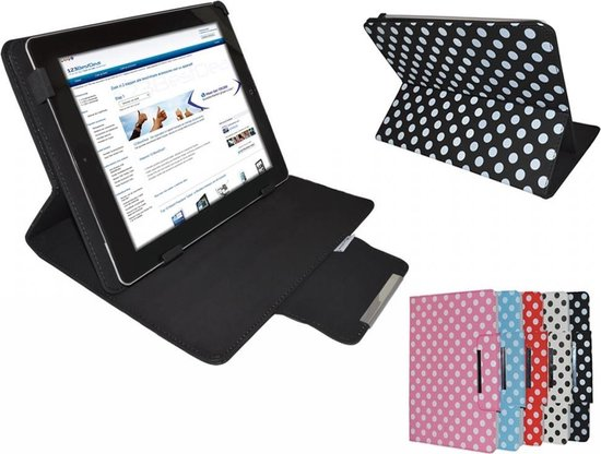 """Polkadot Hoes voor de Empire Electronix M1008, Diamond Class Cover met Multi-stand, wit , merk i12Cover"""