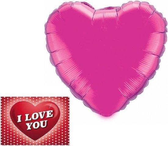 Folie helium ballon fuchsia/roze hart 46 cm met valentijnskaart - Valentijnsdag cadeaus