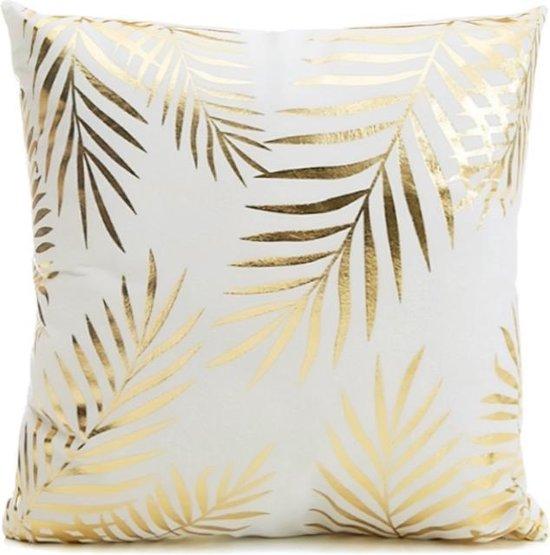 Gold Leaf Kussenhoes - Katoen/Polyester - 45 x 45 cm - Wit/Goud Palm Bladeren