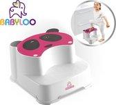 Babyloo Panda Step Stool - Pink/White - kinderkruk – toiletkruk – opstap voor baby en kind – handig voor in badkamer, keuken en toilet