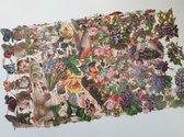 Poëzieplaatjes 8 vellen - Vlinders, Vogels, Bloemen, Poezen, Honden en Rozen