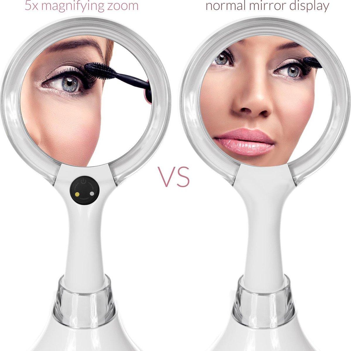 LED verlichting Make-up spiegel Cosmetica 5x vergroting Draagbare - Promedix