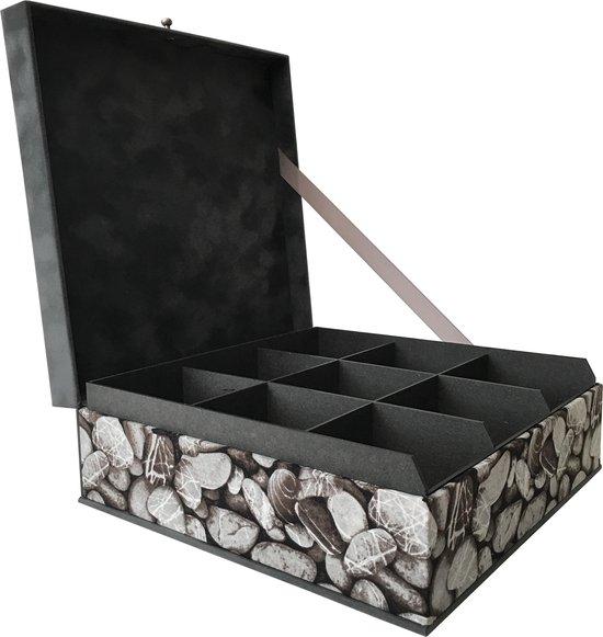 The Box For Tea Grijze Stenen Theedoos met Thee Cadeau - 9 vaks  - Grijs