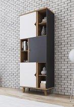 Meubella - Boekenkast Macon - Grijs - Wit - Eiken - 80 cm