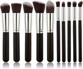 Kabuki Make-up Kwastenset - 10 delig - Zwart Zilver - Oogschaduw Poeder