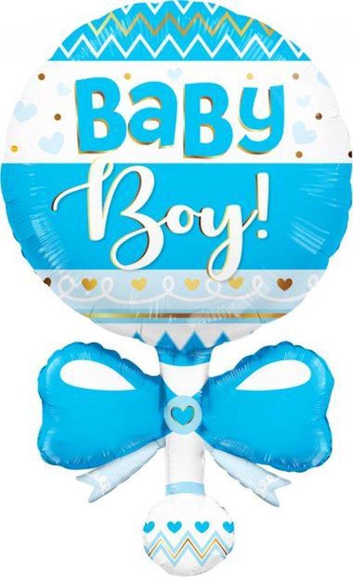 Folie ballon xl baby rammelaar in het blauw 91,4 cm groot