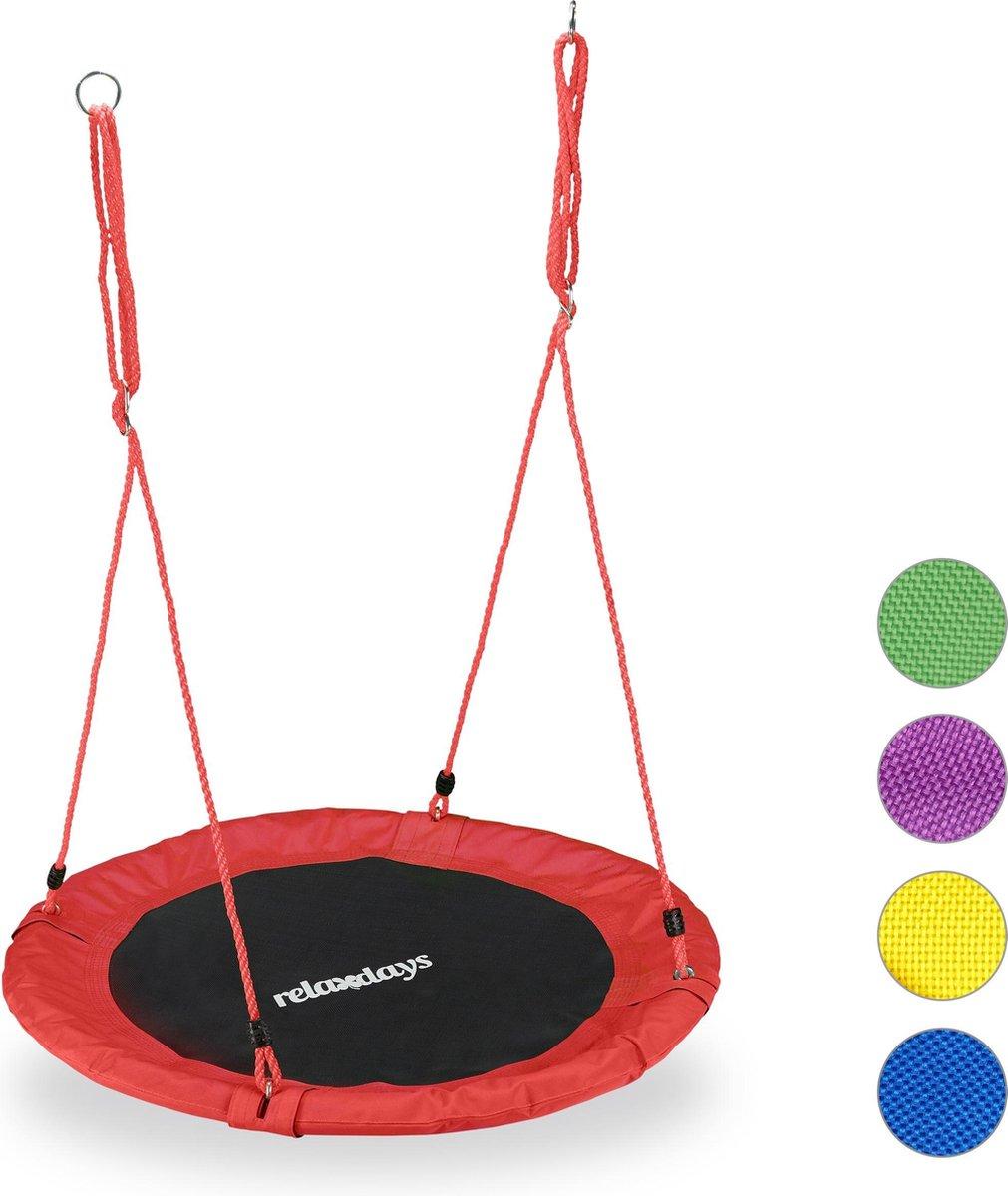relaxdays Nestschommel - kinderschommel - schotelschommel - schommel buiten - rond - 90 cm rood