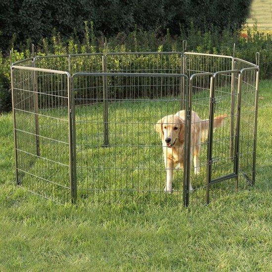 Hondenren 8 Kennelpanelen - Puppy Ren Puppykennel Groot Kennel Hond Kat Hondenkennel - XL Hoog Model - - Grijs