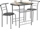 [en.casa]® Bistro Set - metaal - hout - tafel met twee stoelen