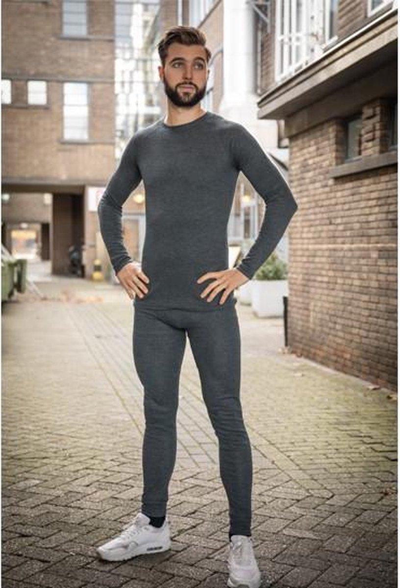 Thermokleding - Heren - Maat M - Shirt+Broek - Thermowear - Thermoset - Antraciet - Winterset