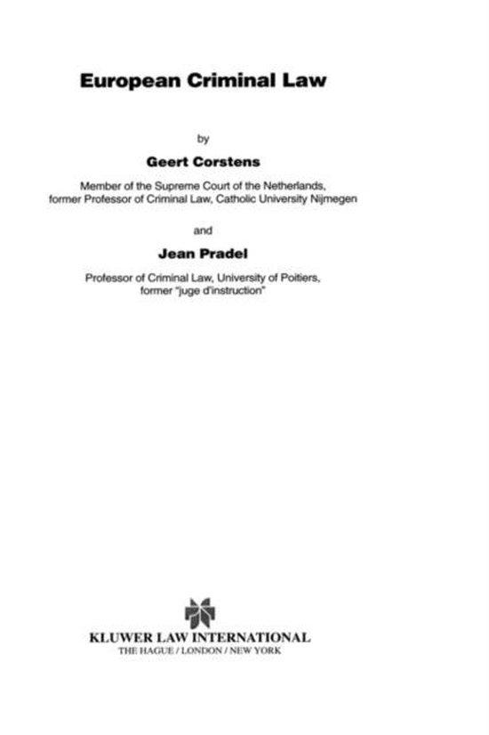 Boek cover European Criminal Law van Geert Corstens (Hardcover)