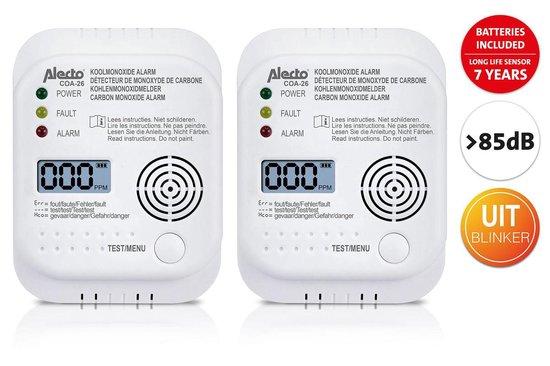 Alecto COA-26 TWIN - Koolmonoxidemelder met 7 jaar sensor, 2 pack, wit