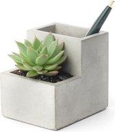 Kikkerland Desktop Planter - Pennenbakje en Plantenbakje in 1 - Keramiek met betonlook - Small