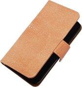 Licht Roze Ribbel booktype wallet cover hoesje voor Apple iPhone 4 / 4S