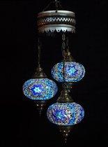 Hanglamp - blauw - glas- mozaïek - Turkse lamp - oosterse lamp - kroonluchter - 3 bollen - glas - mozaïek.