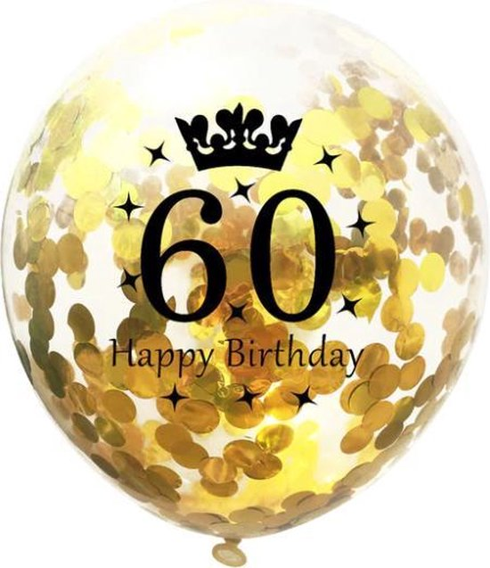 60 Jaar Ballonnen Set - Confetti - 5 stuks - Verjaardag Feest - Versiering - Goud - 30cm