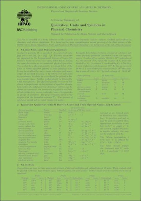 Boek cover A Concise Summary of Quantities, Units and Symbols in Physical Chemistry van Juergen Stohner (Paperback)