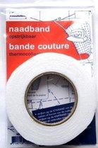Naadband vlieseline opstrijkbaar wit, breedte 1 cm, lengte 12,5 m.