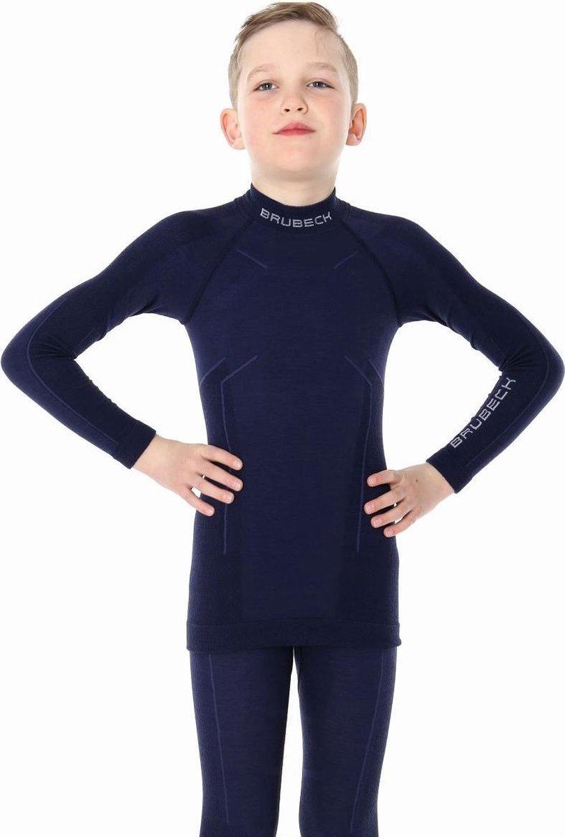 Brubeck Jongens Merino Wol Shirt Thermo Ondergoed Thermoshirt Marineblauw 128 134