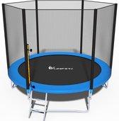 Trampoline - blauw - 252 cm - met net en ladder -