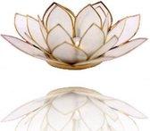 Lotus sfeerlicht naturel goudrand - 13.5 cm - S