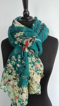 Dames sjaal - viscose - vogels - bloemen - petrol - groen - rood - geel - 80 x 175 cm