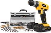 Powerplus POWX0026LI Accuboormachine - 18 V - Incl. 2 accu's - Met 275 delige toolbox met lade
