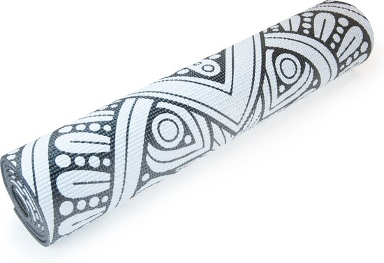 Matchu Sports Anti Slip Yogamat - Zwart Met Mandala - 172 x 61 x 0.6 cm