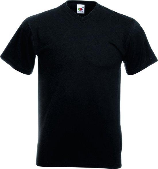 12 pack Fruit of the Loom shirts V-hals - Zwart - maat XL