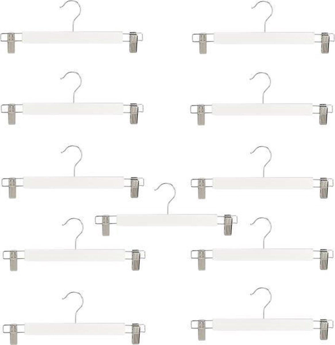 10 (+ 1 GRATIS) witte houten kledinghangers van 34 cm breed met twee klemmen