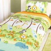 Peuter / junior kinderdekbedovertrek lieve dierenvriendjes in de jungle