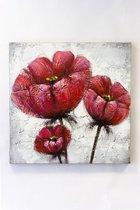 """Olieverf schilderij op doek 75 bij 75 cm. """"Bloemen rood""""."""