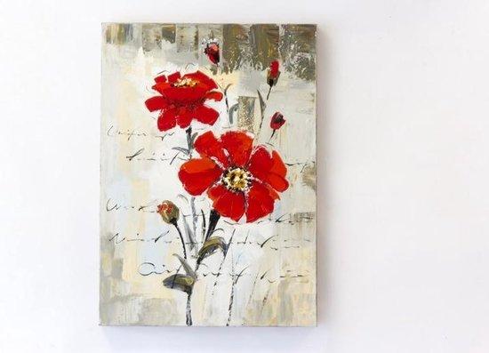 """Olieverf schilderij op doek 50 bij 70 cm. """"Bloemen rood""""."""