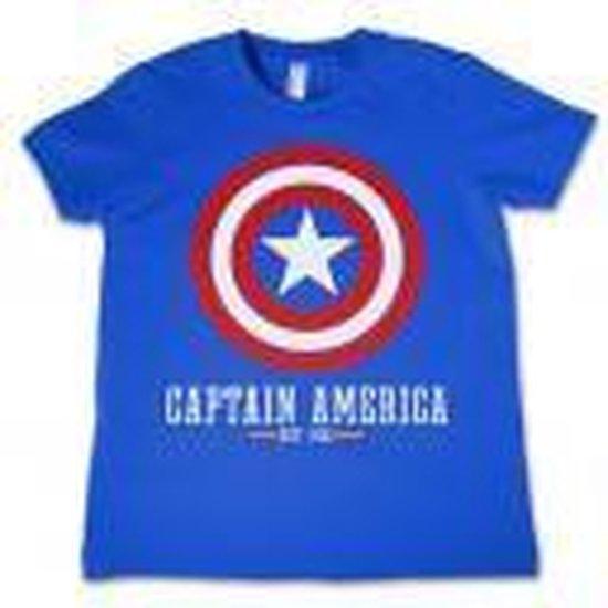 Marvel Captain America Kinder Tshirt -Kids tm 4 jaar- Comics - Logo Blauw