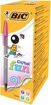 BIC® Cristal Fun Balpen, Grote Punt 1,6 mm, Roze, Paars, Lichtblauw, Lichtgroen (doos 20 stuks)