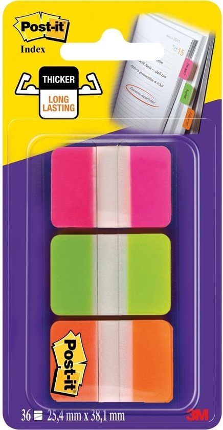 Afbeelding van Post-it® Index Strong, Roze, Groen, Oranje, 25.4 x 38 mm, 12 Tabs/Kleur/Dispenser